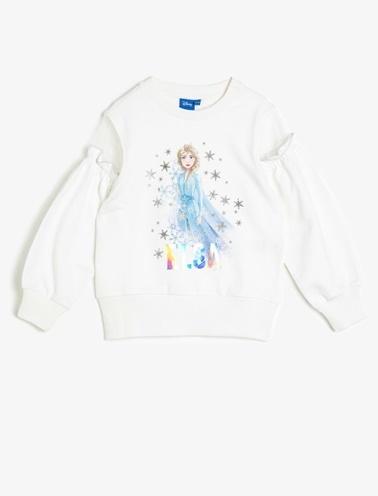 Koton Kids Frozen Baskılı Sweatshirt Ekru